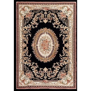 Persian-rugs Traditional Black Area Rug; 7'2'' x 10'6''