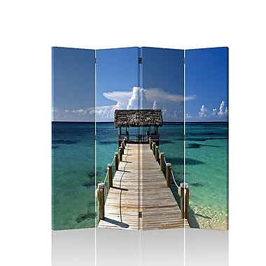 Roundhill Furniture 71'' x 69'' Double Sided Painted Canvas 4 Panel Room Divider