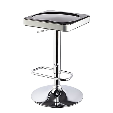 Roundhill Furniture Adjustable Height Swivel Bar Stool (Set of 2); Black
