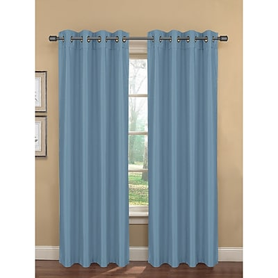 Bella Luna Bliss Solid Room darkening Thermal Grommet Curtain Panels (Set of 2); Blue