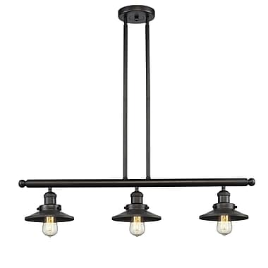 Innovations Lighting Railroad Shade 3-Light Kitchen Island Pendant; Oiled Rubbed Bronze