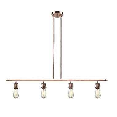 Innovations Lighting Bare Bulb 4-Light Kitchen Island Pendant; Antique Copper