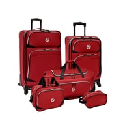 Beverly Hills Country Club San Vincente 5pc Spinner Luggage Set, Red