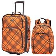 U.S. Traveler Orange Contrast Plaid 2-Piece Luggage Set