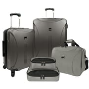 US Traveler Skyscraper 5-Piece Hardside Spinner Luggage Set, Iron Grey