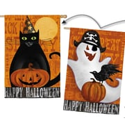 Evergreen Flag & Garden Halloween Night Ghost and Black Cat 2-Sided Vertical Flag