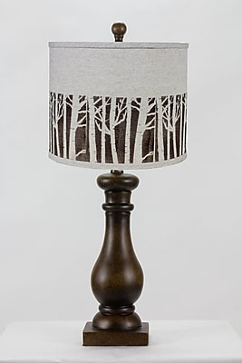 AHS Lighting Lehigh Table Lamp With Green Gingham Shade, Brown