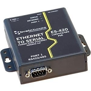 Brainboxes 1-Port RS-422/485 PoE Ethernet To Serial Device Server (ES-420)