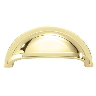 HickoryHardware Williamsburg 3'' Center Cup/Bin Pull; Polished Brass