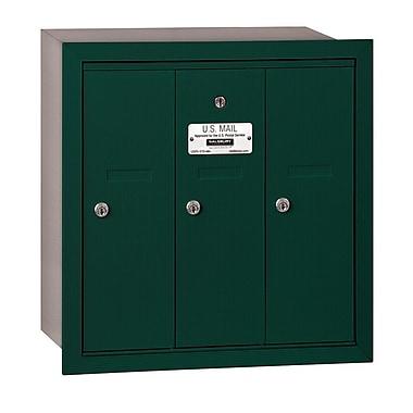 Salsbury Industries 3 Door Front Load Vertical Mail Center; Green