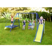 Natus Inc Almansor Metal Trampoline/Slide and Swing Set