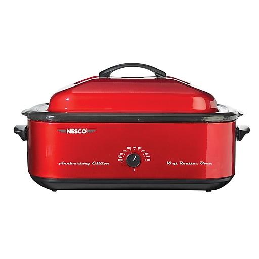 Nesco® 18 Quart Porcelain Cookwell Roaster Oven, Red