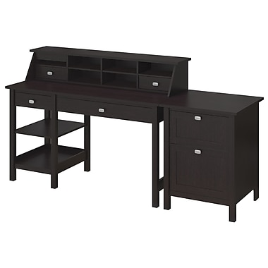 Bush Furniture Broadview Collection Open Storage Desk, Organizer and 2 Drawer Pedestal, Espresso Oak