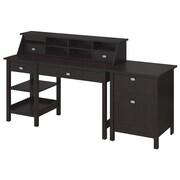 Bush Furniture Broadview Collection Open Storage Desk, Organizer and 2 Drawer Pedestal, Espresso Oak