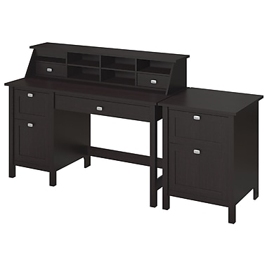 Bush Furniture Broadview Collection Single Pedestal Desk, Organizer and 2 Drawer Pedestal, Espresso Oak