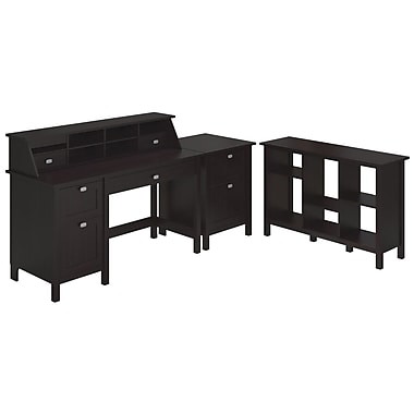 Bush Furniture Broadview Collection Single Pedestal Desk, Organizer, 2 Drawer Pedestal & 6 Cube Bookcase, Espresso Oak