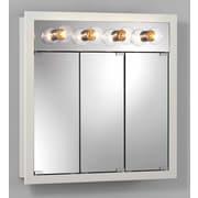 Jensen 30 inch x 30 inch Surface Mount Medicine Cabinet w/ Lighting; White by
