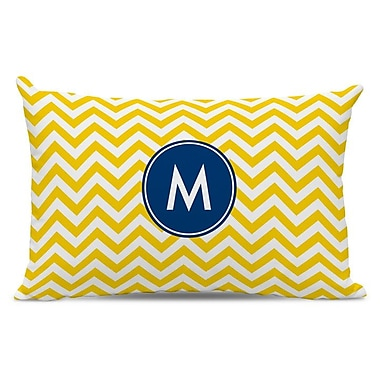 Boatman Geller Chevron Single Initial Cotton Lumbar Pillow; R
