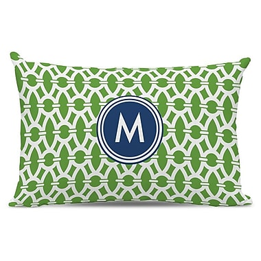 Whitney English Trellis Single Initial Cotton Lumbar Pillow; Y