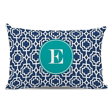 Whitney English Designer Lattice Single Initial Cotton Lumbar Pillow; Y