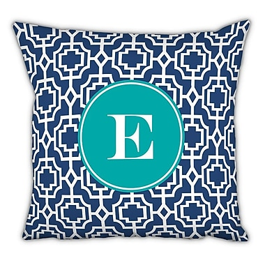 Whitney English Designer Lattice Single Initial Cotton Throw Pillow; E