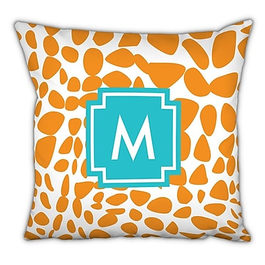Whitney English Lizard Single Initial Cotton Throw Pillow; W