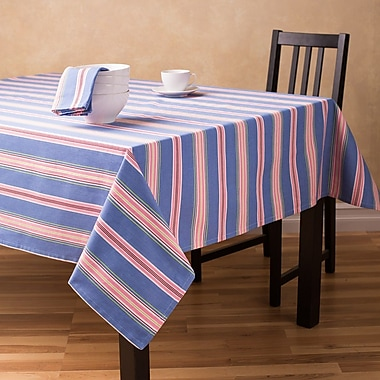 Linen Tablecloth Striped Rectangular Cotton Tablecloth; 60'' L x 126'' W
