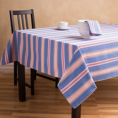 Linen Tablecloth Striped Rectangular Cotton Tablecloth; 60'' L x 84'' W