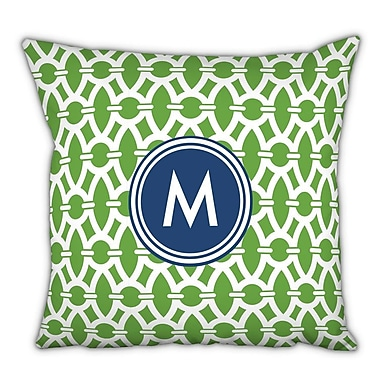 Whitney English Trellis Single Initial Cotton Throw Pillow; R