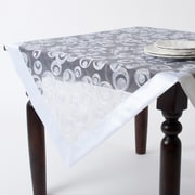 Saro Embroidered Design Tablecloth; White