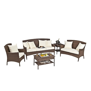 Panama Jack Key Biscayne 5 Piece Seating Group w/ Cushions; Frequency Sand