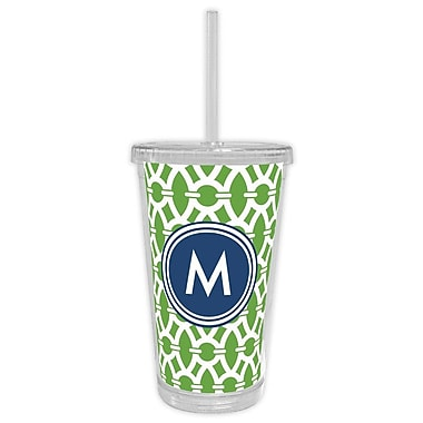 Whitney English Trellis Single Initial Beverage Tumbler; T