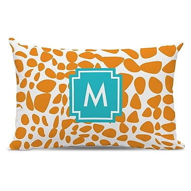 Whitney English Lizard Single Initial Cotton Lumbar Pillow; Z