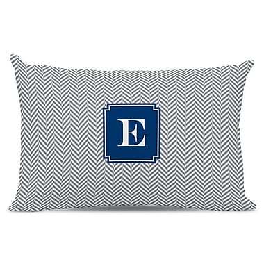 Boatman Geller Herringbone Single Initial Cotton Lumbar Pillow; H