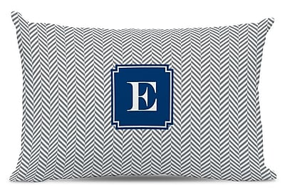 Boatman Geller Herringbone Single Initial Cotton Lumbar Pillow; G