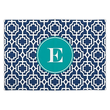 Whitney English Designer Lattice Single Initial Fabric Placemat; M