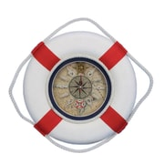Handcrafted Nautical Decor Decorative Lifering 12'' Clock w/ Bands; Red