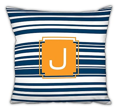 Dabney Lee Block Island Single Initial Cotton Throw Pillow; J