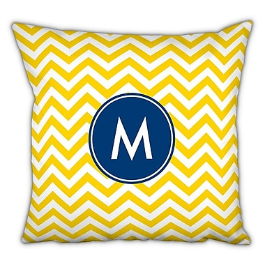 Boatman Geller Chevron Single Initial Cotton Throw Pillow; V