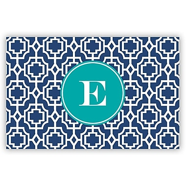 Whitney English Designer Lattice Single Initial Laminated Placemat; U