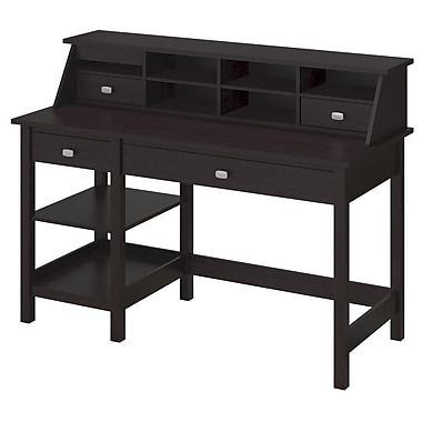 Bush Furniture Broadview Collection Open Storage Desk and Organizer, Espresso Oak