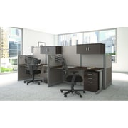 Bush Business Furniture Office in an Hour 65W x 33D Straight Workstation with Storage and Chair, Mocha Cherry (WC36892-03SCFA)