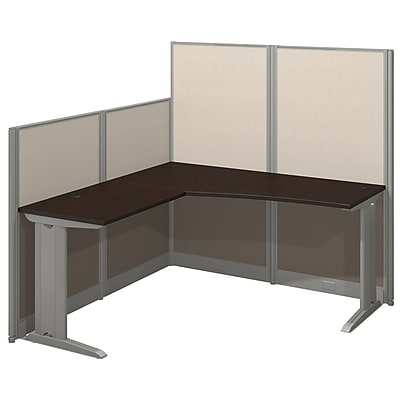 Bush Business Furniture Office in an Hour 65W x 65D L Shaped Cubicle Workstation - Installed, Mocha Cherry (WC36894-03KFA)
