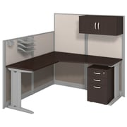 Bush Business Furniture Office in an Hour 65W x 65D L-Workstation with Storage and Accessory Kit, Mocha Cherry (WC36894-03STGK)
