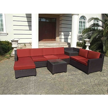 Gazebo Penguin Wicker Patio Set, Lounger, Red (177625)