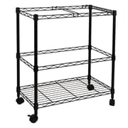Oceanstar 2MRC1507 Portable 2-Tier Metal Rolling File Cart, Black