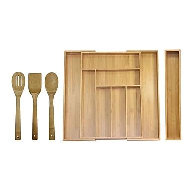 Oceanstar – Ensemble de range-tiroirs extensibles pour ustensiles en bambou KT1293, 5 pièces