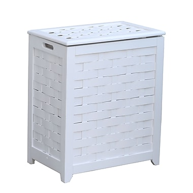 Oceanstar RHV0103W Rectangular Veneer Laundry Wood Hamper with Interior Bag, White