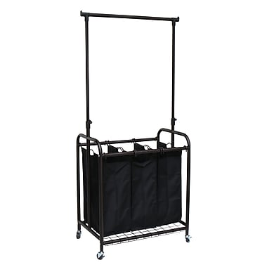 Oceanstar TLS1385 3-Bag Rolling Laundry Sorter with Adjustable Hanging Bar, Bronze