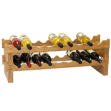 Oceanstar WR1361 18-Bottle Stackable Bamboo Wine Rack